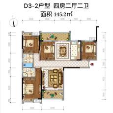 中央城三期D3-2户型图